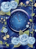 animated blue roses clock